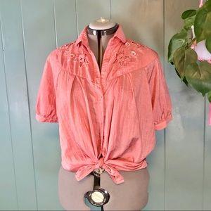 Vintage Short Sleeve Coral Cutout Blouse